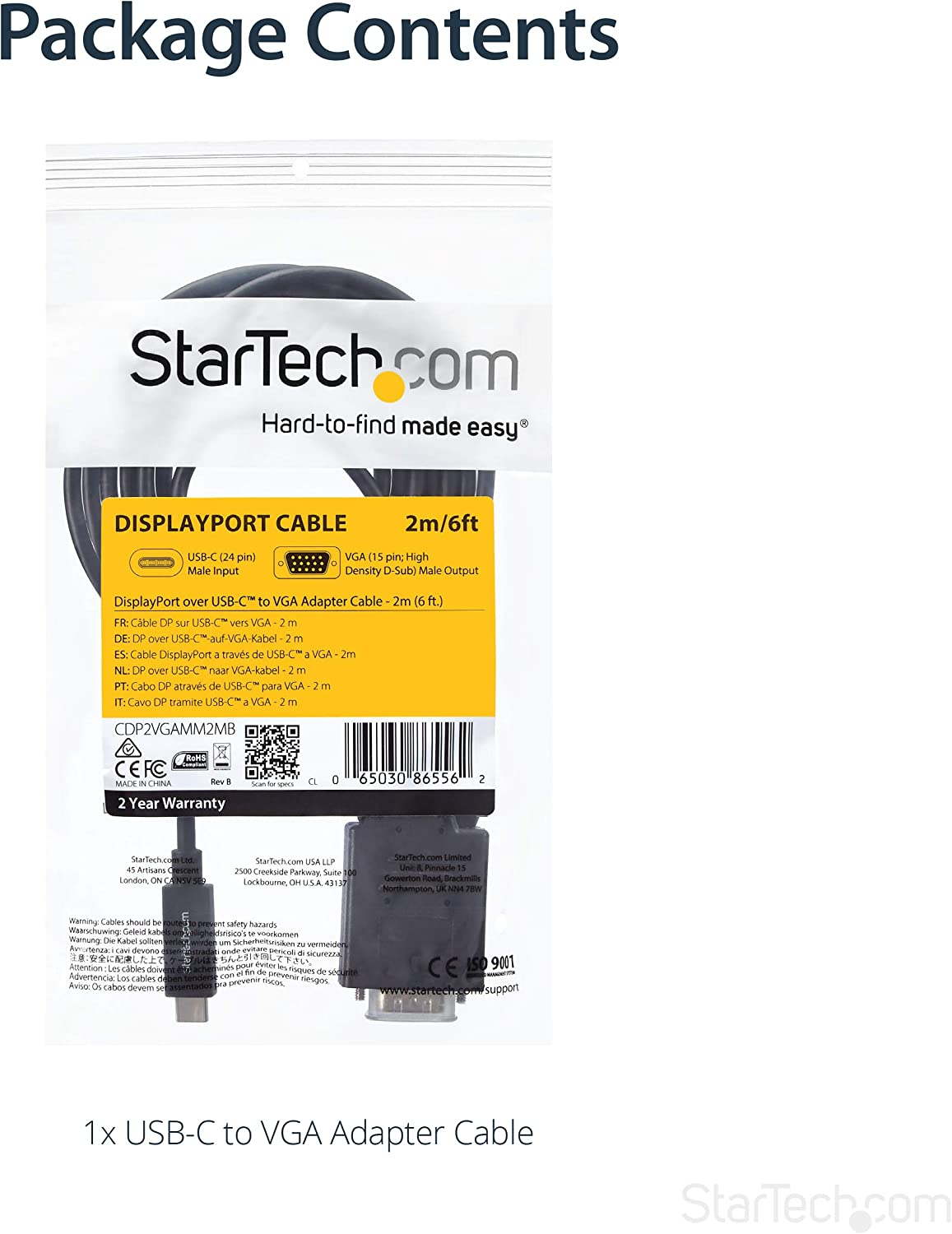 StarTech CDP2VGAMM2MB USB-C to VGA Adapter Cable