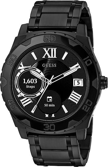 Guess Montre intelligente en acier inoxydable pour homme avec écran tactile en silicone, couleur : noir (modèle C1001G5)