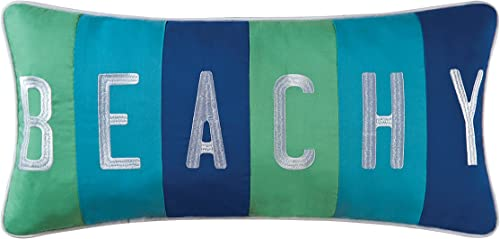 C F Home Beachy Embroidered Pillow 12 x 24 Blue