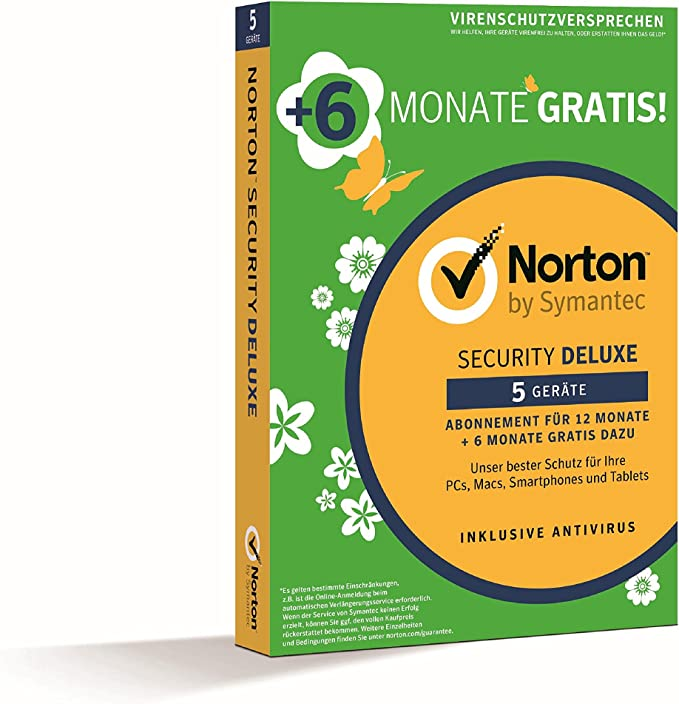 Key Card Norton Security Deluxe 2019 for 5 Devices–PC Mac Android iOS Box