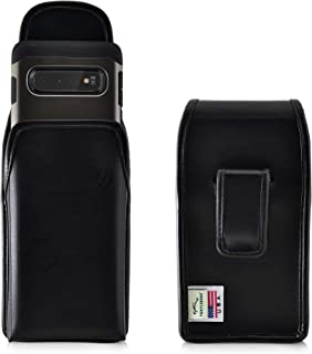 product image for Galaxy S10 Holster, Turtleback Vertical Galaxy S10 Belt Case, Black Leather Pouch with Executive Belt Clip, Made in USA