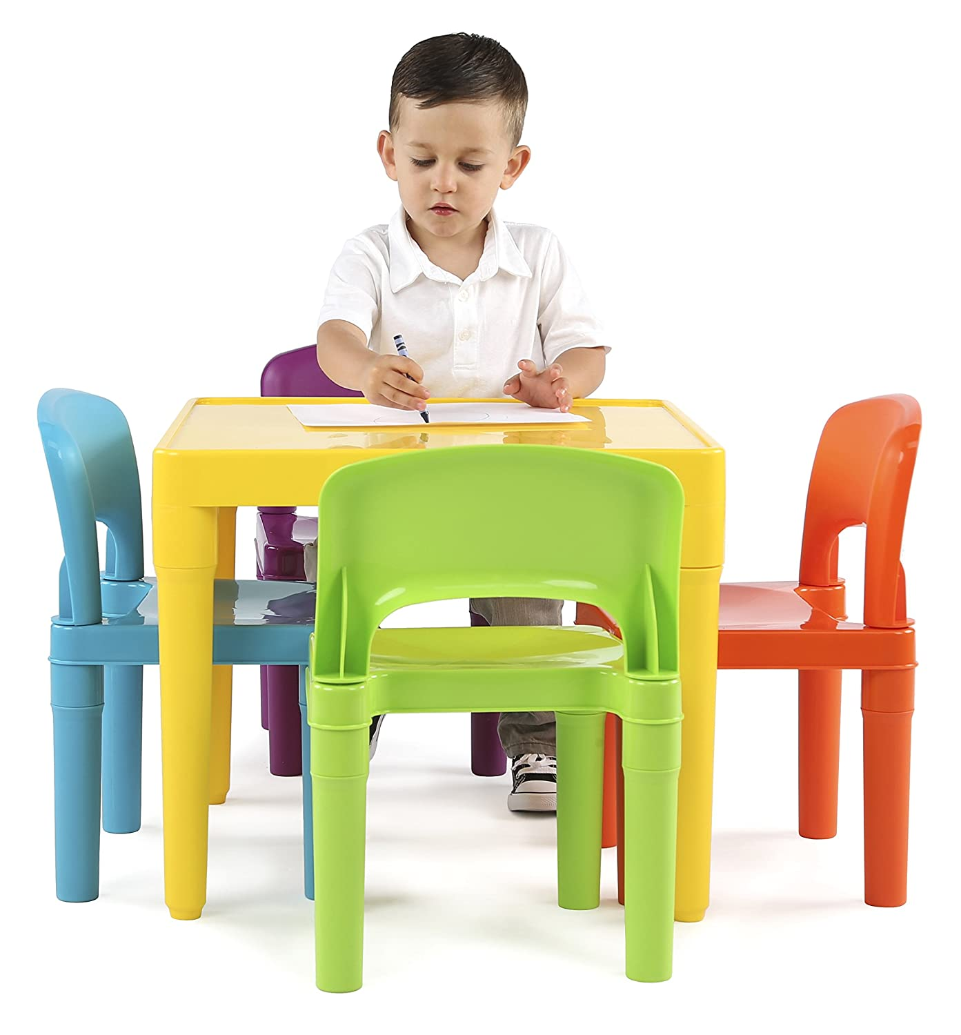 Amazon.com Tot Tutors Kids Plastic Table and 4 Chairs Set Vibrant Colors Kitchen \u0026 Dining  sc 1 st  Amazon.com : child table and chair set plastic - pezcame.com