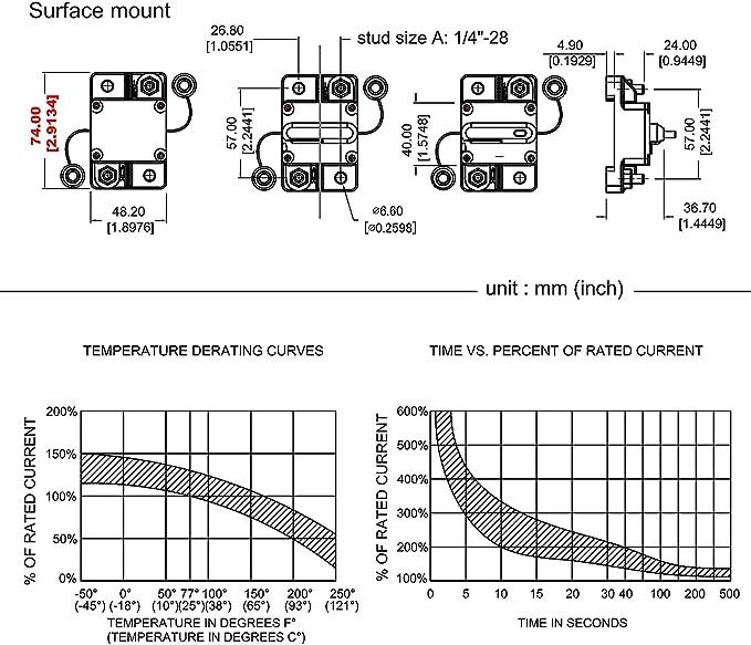 Samoleus Interrupteur De R/éarmement Manuel En Ligne 12 V-24 V DC pour Moteur Automatique de Voiture Boat Disjoncteur de 150 A /à la tra/îne