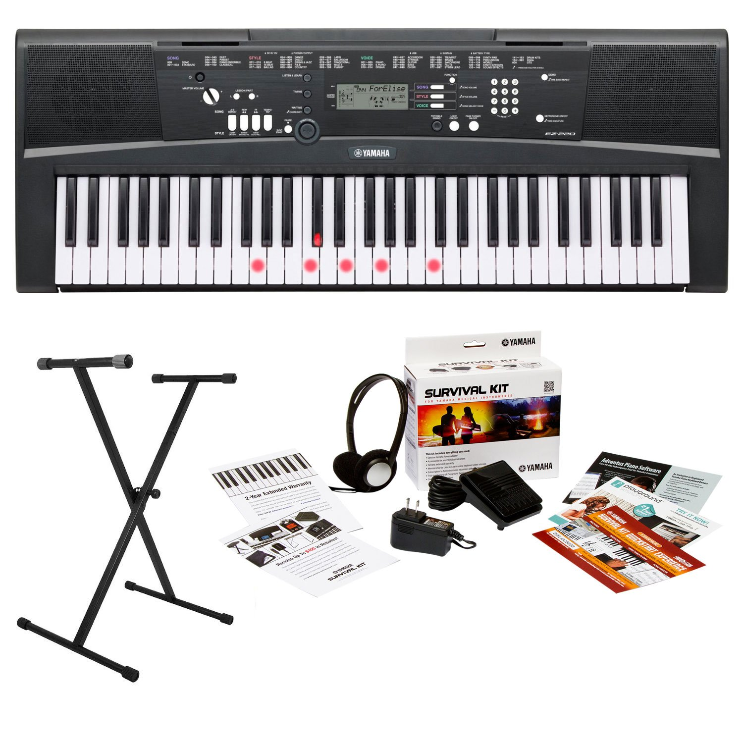 Yamaha EZ220 61-Key Lighted Key Portable Keyboard Bundle with X-Style Keyboard Stand and Survival Kit (Includes Power Supply and Headphones and 2 Year Warranty)
