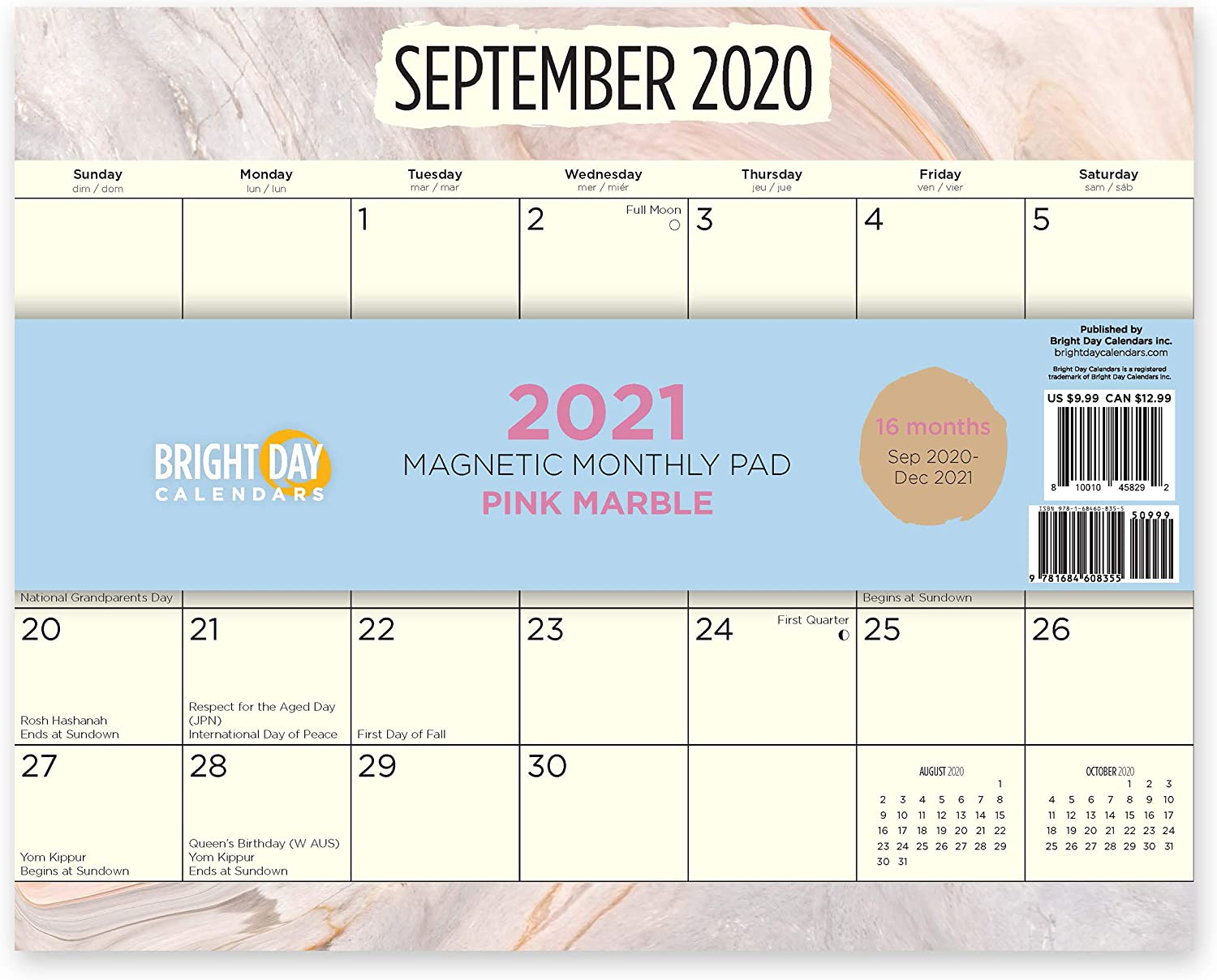 2021 Magnetic Refrigerator Calendar Wall Calendar Pad by Bright Day, 16 Month 8 x 10 Inch… (Pink Marble)