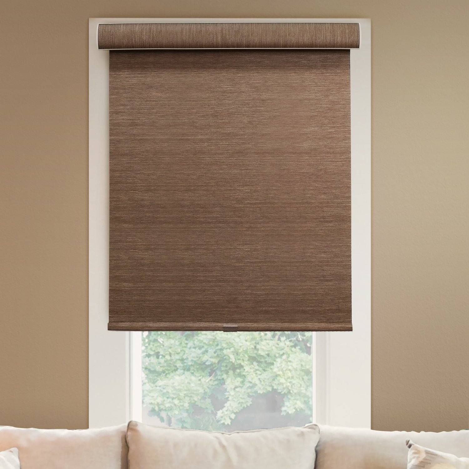 CHICOLOGY Deluxe Free-Stop Cordless Roller Shades No Tug Privacy Window Blind, 45'' W X 72'' H, Felton Truffle (Privacy and Natural Woven)