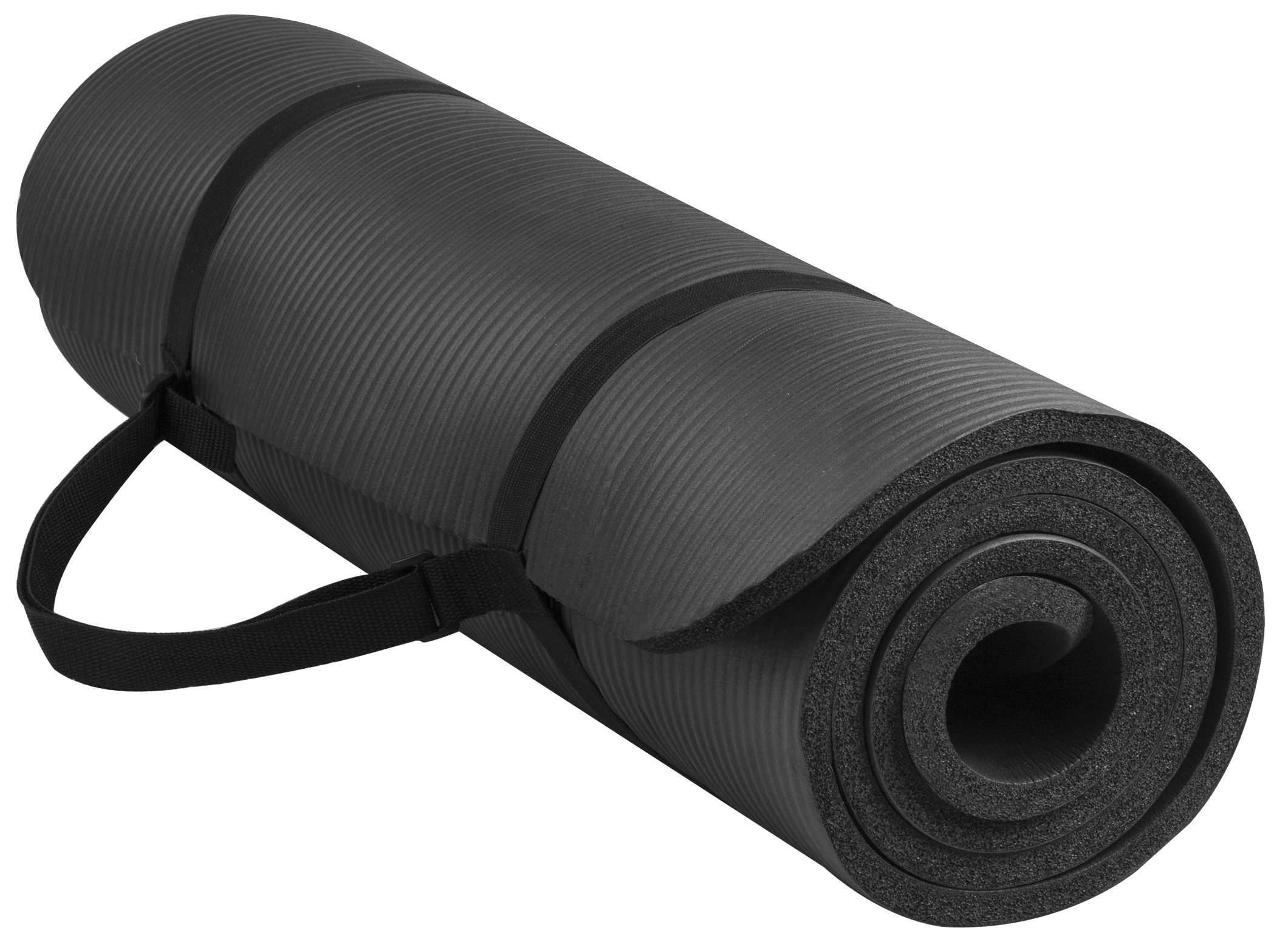 BalanceFrom BFGY-AP6BLK Go Yoga All Purpose Anti-Tear Exercise Yoga Mat with Carrying Strap, Black by BalanceFrom