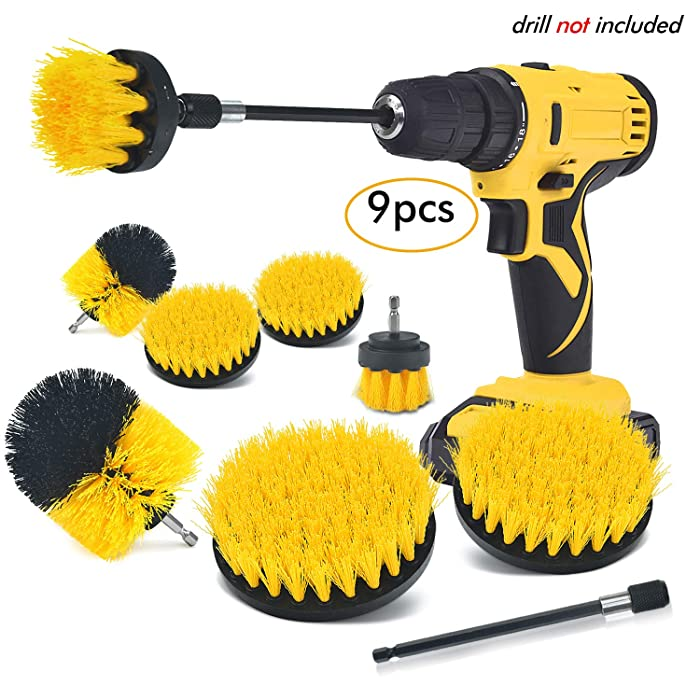 SHIELDPRO Brush Drill Attachment Set,Power Cleaning Scrub Brush Kit,All Purpose Time Saving Brush with Extend Attachment for Bathroom and Kitchen Surface,Grout,Tub,Shower,Tile,Corners,Automotive