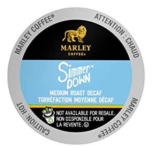 Marley Coffee Single Serve Capsules, Simmer Down Decaf, Swiss Water Process, Medium Roast, Compatible with Keurig K-Cup Brewers, 24 Count