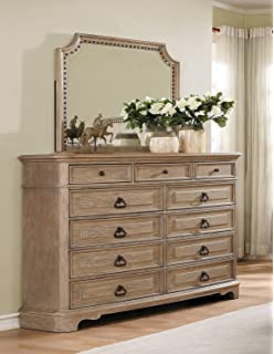 Roundhill Furniture B296DM Piraeus 296 11 Drawers White Wash Dresser And  Nailhead Trim Mirror