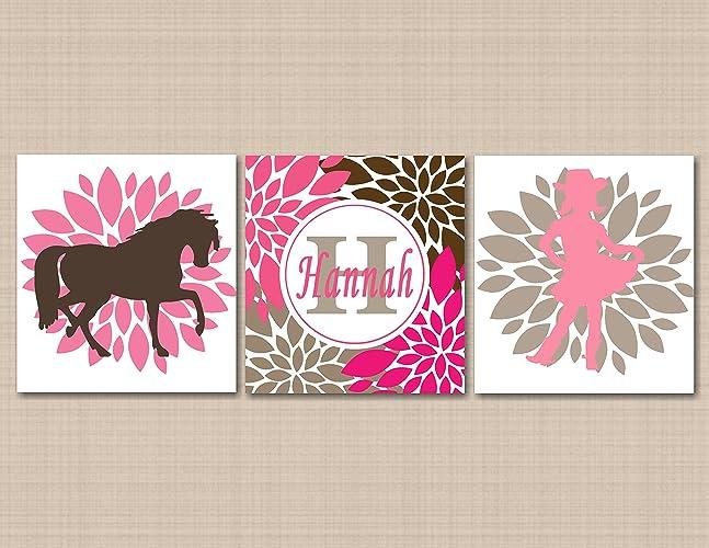 Amazon.com: Cow Girl Nursery Wall Art,Horse Pony Pink Brown Nursery ...