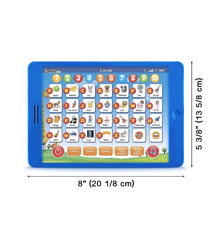 Boxiki kids Tablet Pad de Aprendizaje en inglés Infantil y Divertida con 6 Juegos Temprano para Aprendizaje de Números, Aprender el ABC, Deletreo, ...