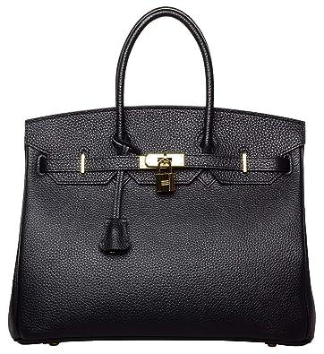 Women s Genuine Leather Padlock Handbags Ladies Top Handle Satchel Cross  Shoulder Handbags strap organizer Purse Tote 9a1b57d306