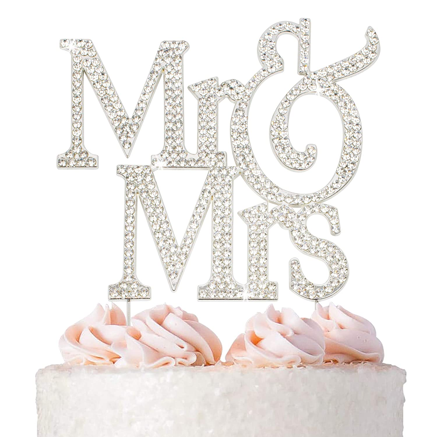Mr And Mrs Wedding Cake Topper Premium Silver Metal Sparkly Wedding Or Anniversary Cake Topper Now Protected In A Box Amazon Com Grocery Gourmet Food