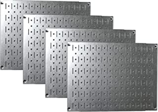 product image for Pegboard Wall Organizer Tiles - Wall Control Modular Galvanized Steel Pegboard Tiling Set - Four 12-Inch Tall x 16-Inch Wide Peg Board Panel Wall Storage Tiles - Easy to Install (Metallic)