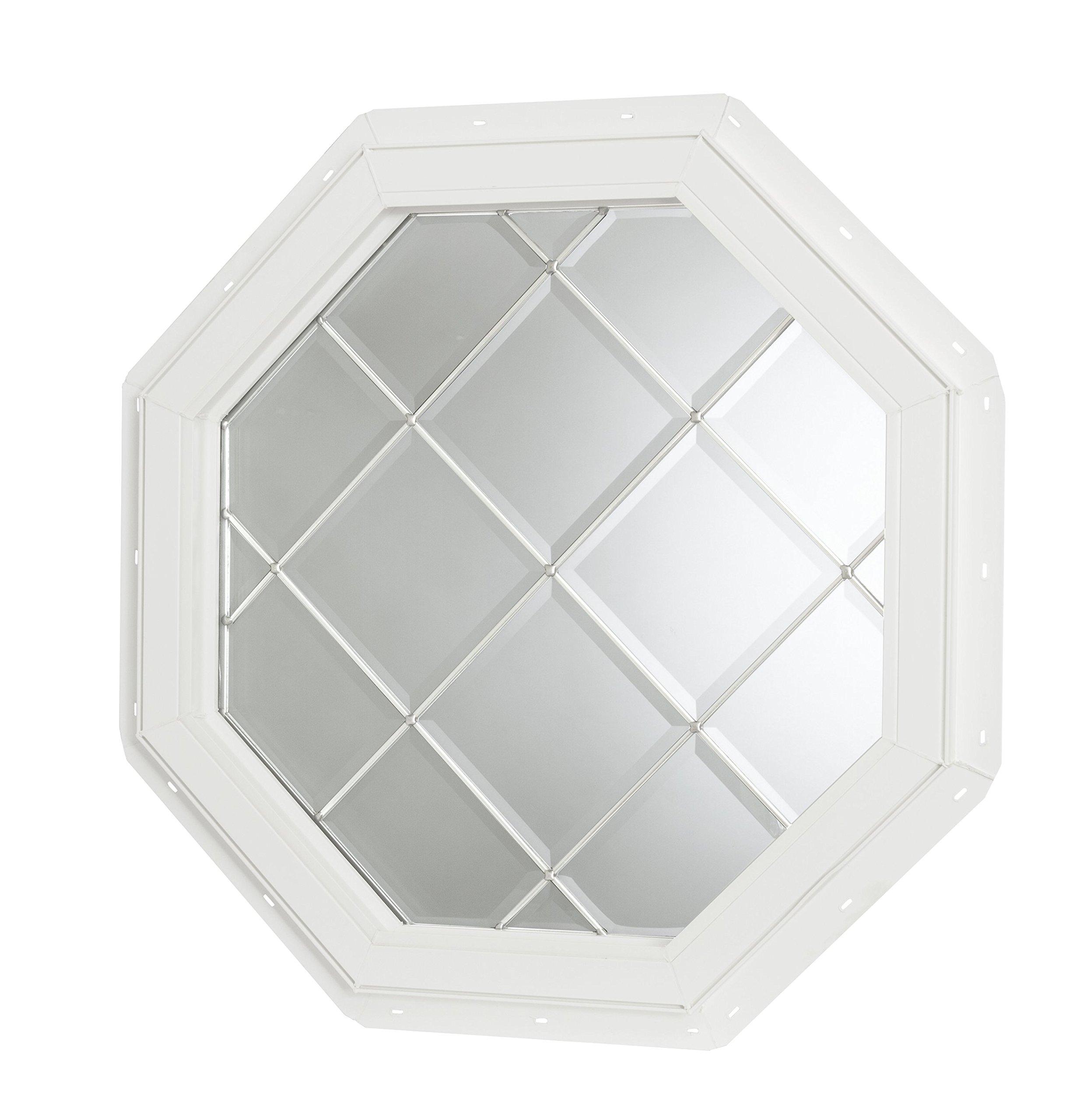 Park Ridge Vinyl Octagon Fixed Window with Platinum Geometric Diamond Grids & Triple Pane Beveled Glass, 22'' x 22''