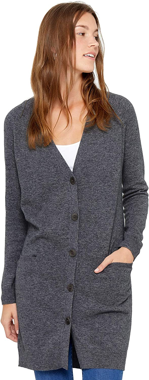 State Cashmere Lightweight Mid-Thigh Cardigan 100/% Pure Cashmere Long Sleeve Open Jumper for Women