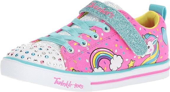 Skechers Kids' Sparkle Lite Unicorn Craze Sneaker pink and blue