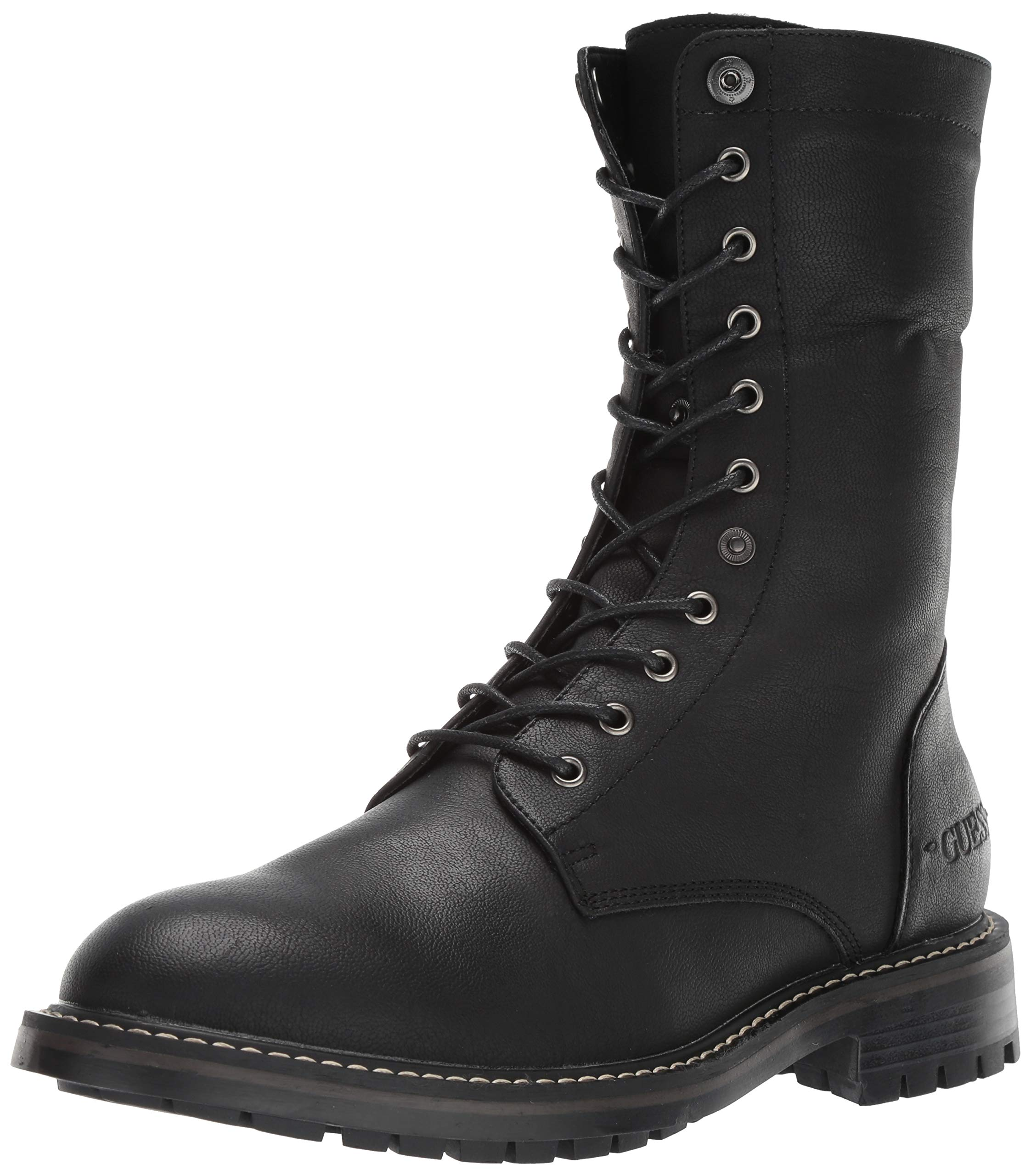 GUESS Men's Rune Combat Boot, Black, 10.5 M US