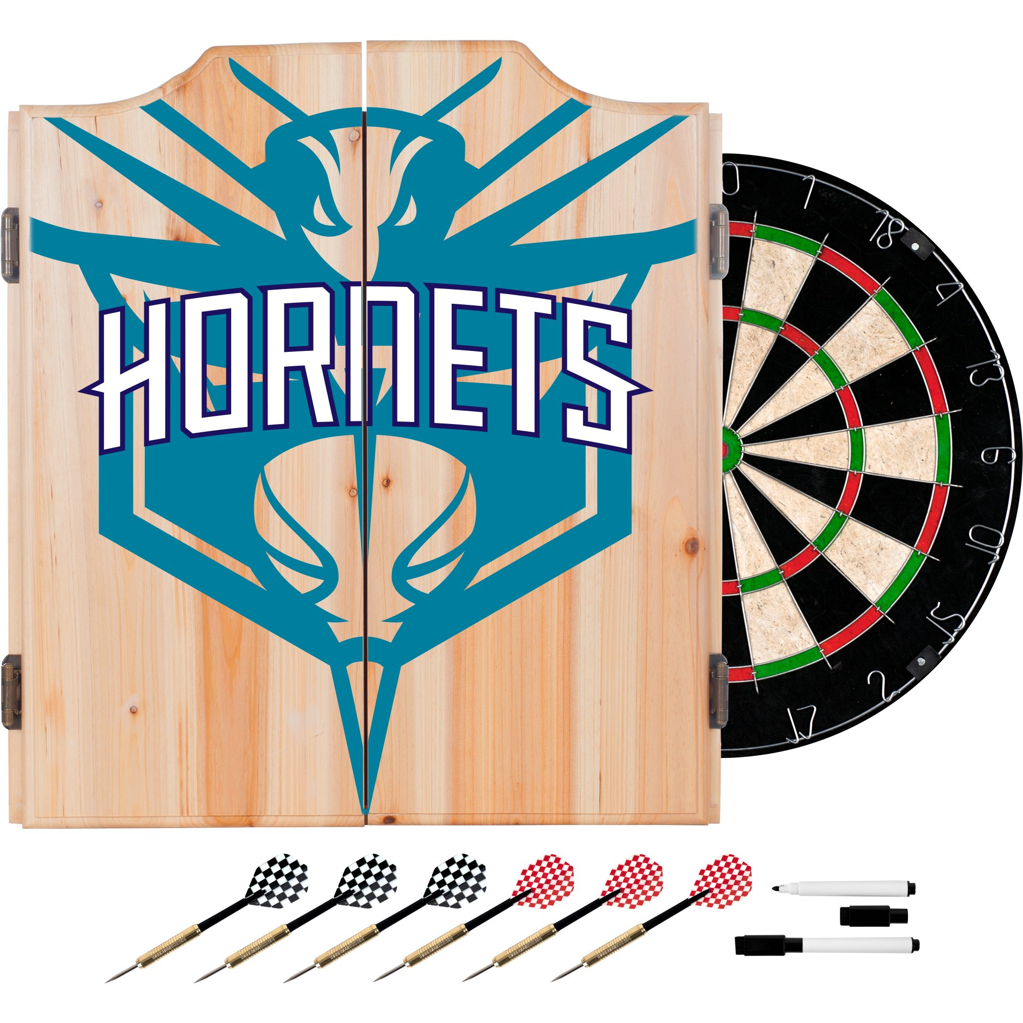 Trademark Gameroom NBA7010-CH2 NBA Dart Cabinet Set with Darts & Board - Fade - Charlotte Hornets by Trademark Global