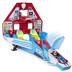 Paw Patrol, Super Paws, 2-in-1 Transforming Mighty Pups Jet Command Center with Lights and Sounds