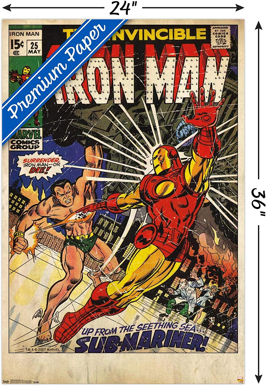 "24/"" x 24/"" Iron Man Movie Print Poster spray street Art Painting Signed COA"