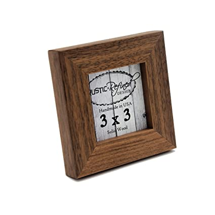 3x3 Solid Wood Made in USA Picture Frame with 1 Inch Border (Gallery  Collection) - Black Walnut