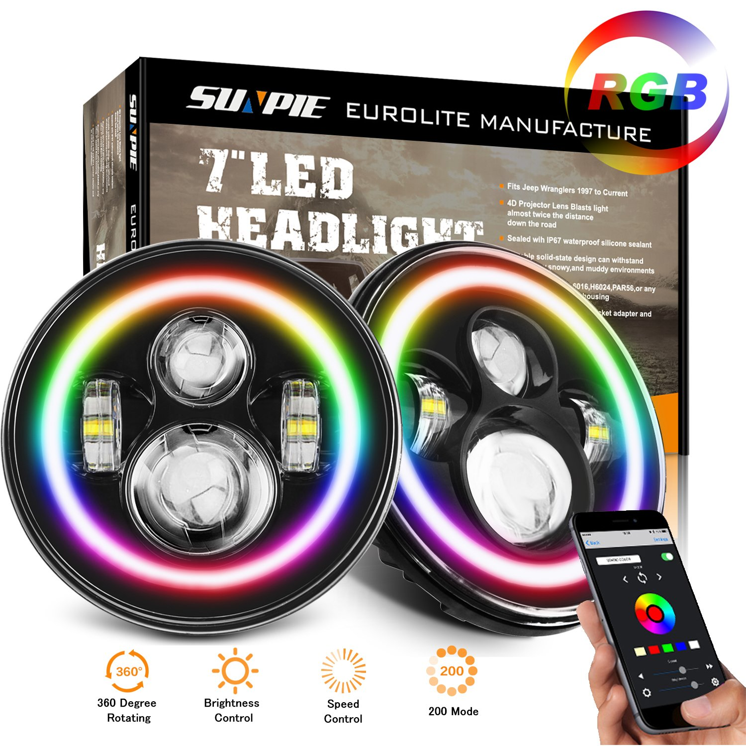 7'' LED Headlight Lamp with Rotating RGB Halo Speech Brightness adjustment Bluetooth Remote for 1997~2017 Jeep Wrangler JK LJ CJ Hummer H1 H2 Headlamp DRL Driving Light Bulb by SUNPIE