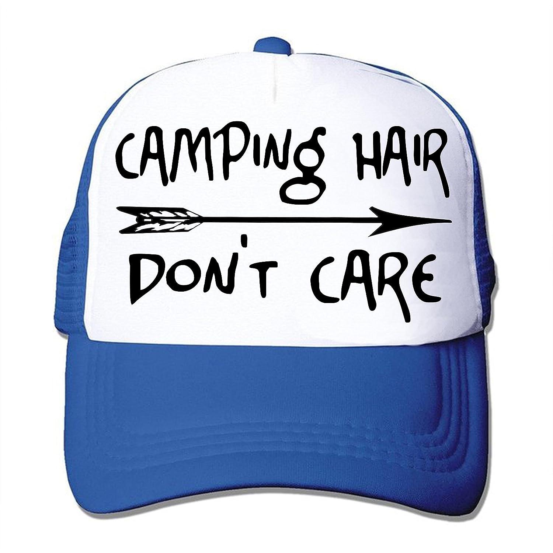 931dd29c Amazon.com: Camping Hair Don't Care Trucker Snapback Baseball Cap Vacation  Black White: Clothing