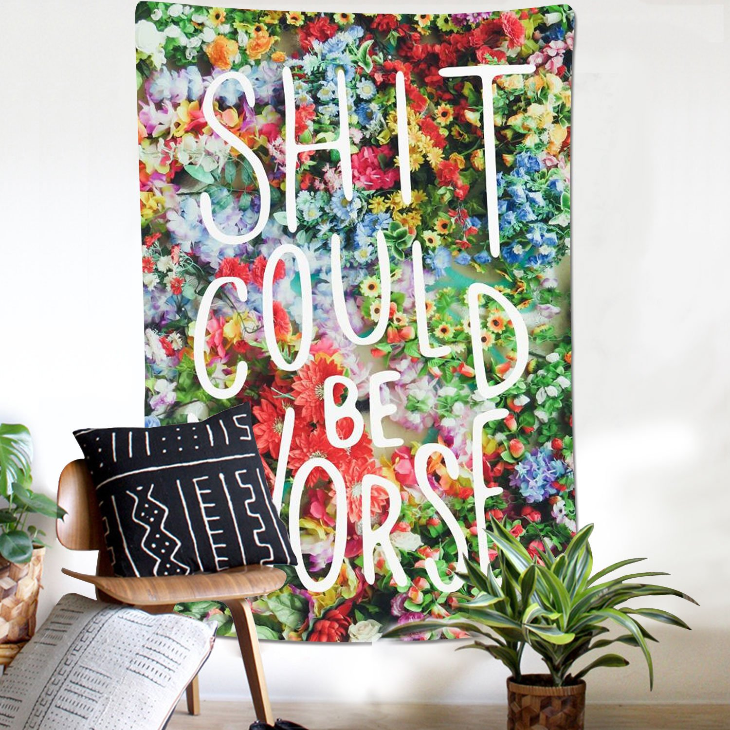 Sunfreem Wall Tapestry Flower with Funny Words Wall Hanging Tapestry Floral Words Tapestry Wall Hanging Quote Tapestry/ for Home Living Room Decor