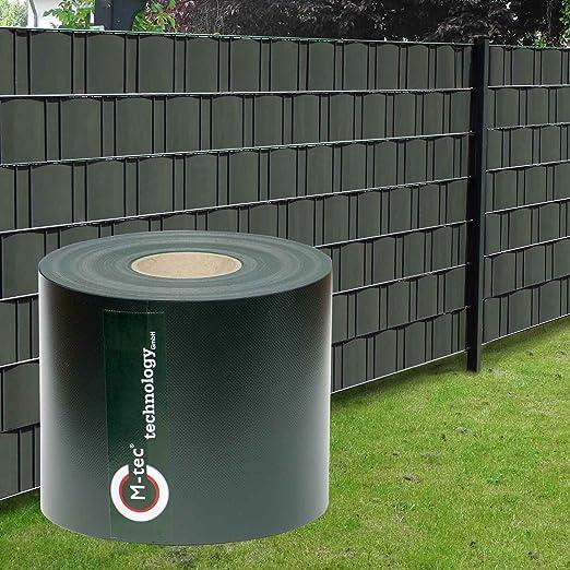 M-tec technology GmbH - Paneles protectores para vallas (Profi-line ®, PVC, 65 m, 19 cm de ancho, incluye 20 rieles de sujeción), color negro: Amazon.es: Jardín