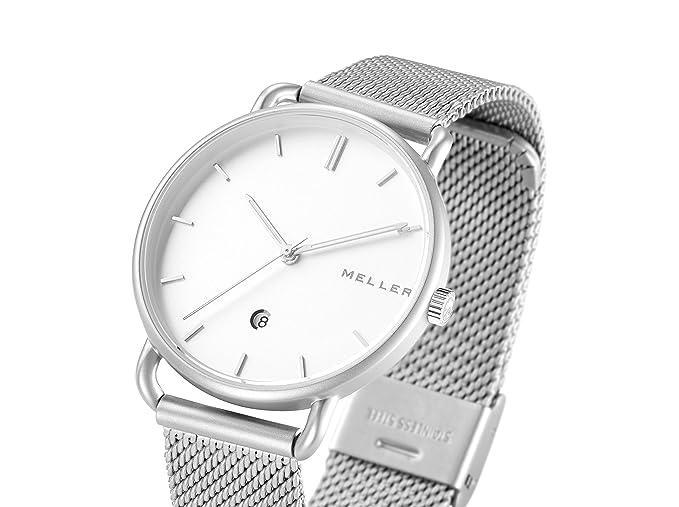 Meller Reloj Analógico para Unisex Adultos de Cuarzo con Correa en Acero Inoxidable W3P-2SILVER: Amazon.es: Relojes