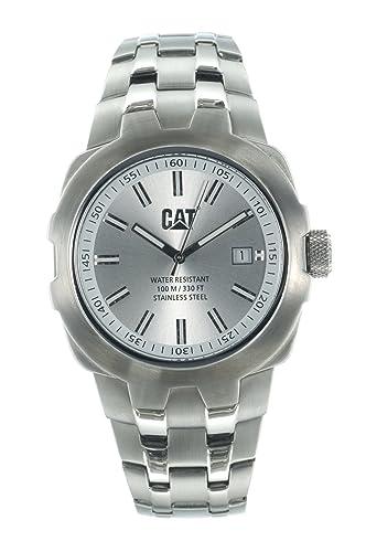 Caterpillar YE 141 11 222 - Reloj de caballero de cuarzo, correa de acero inoxidable color plata: Amazon.es: Relojes