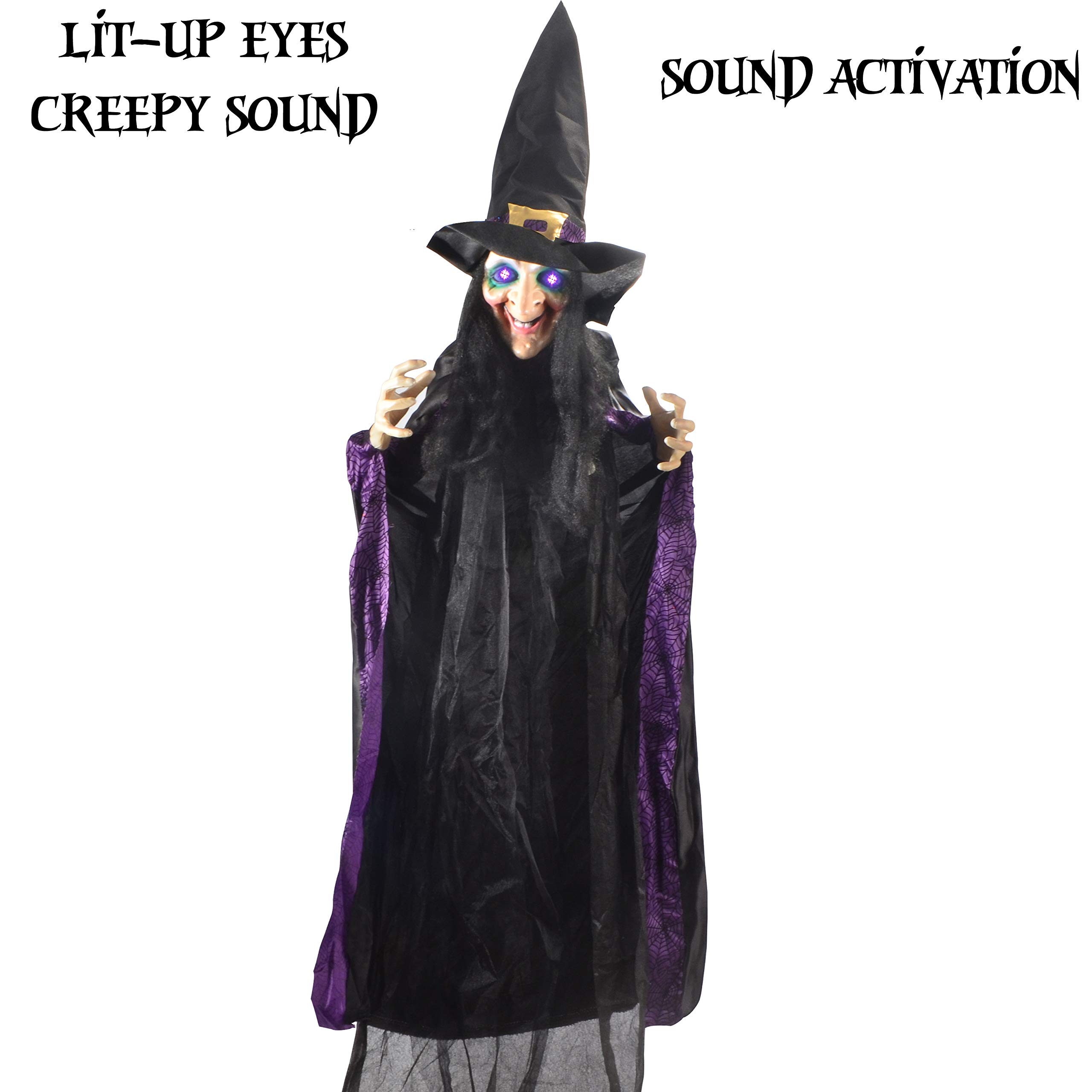 JOYIN Life Size 74'' Hanging Animated Witch with LED Eyes and Spooky Sounds for Halloween Decorations by JOYIN