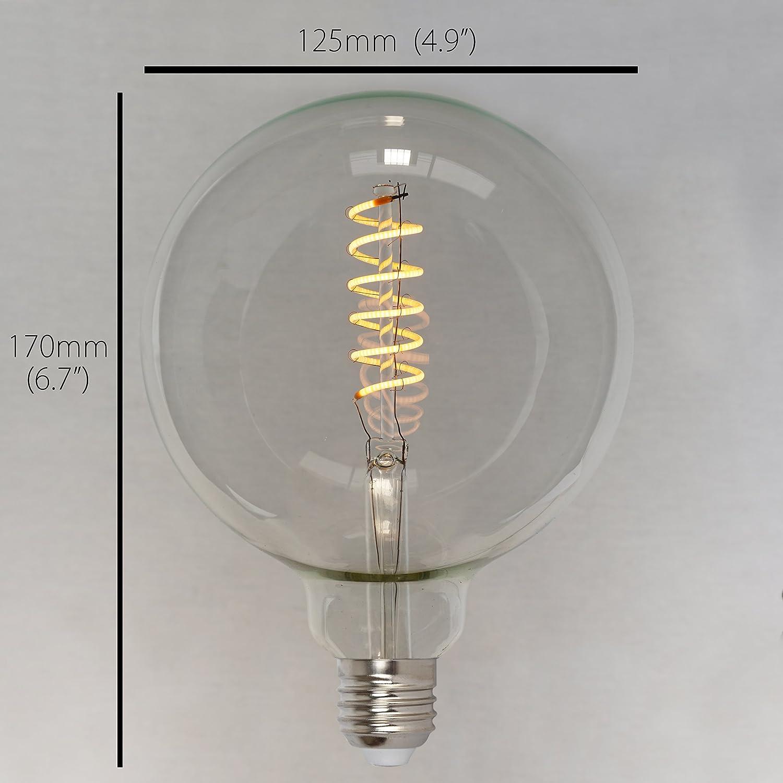40w - Spiral 125mm ES E27 The Retro Boutique /® Dimmable Vintage LED Edison Globe Light Bulb 4w