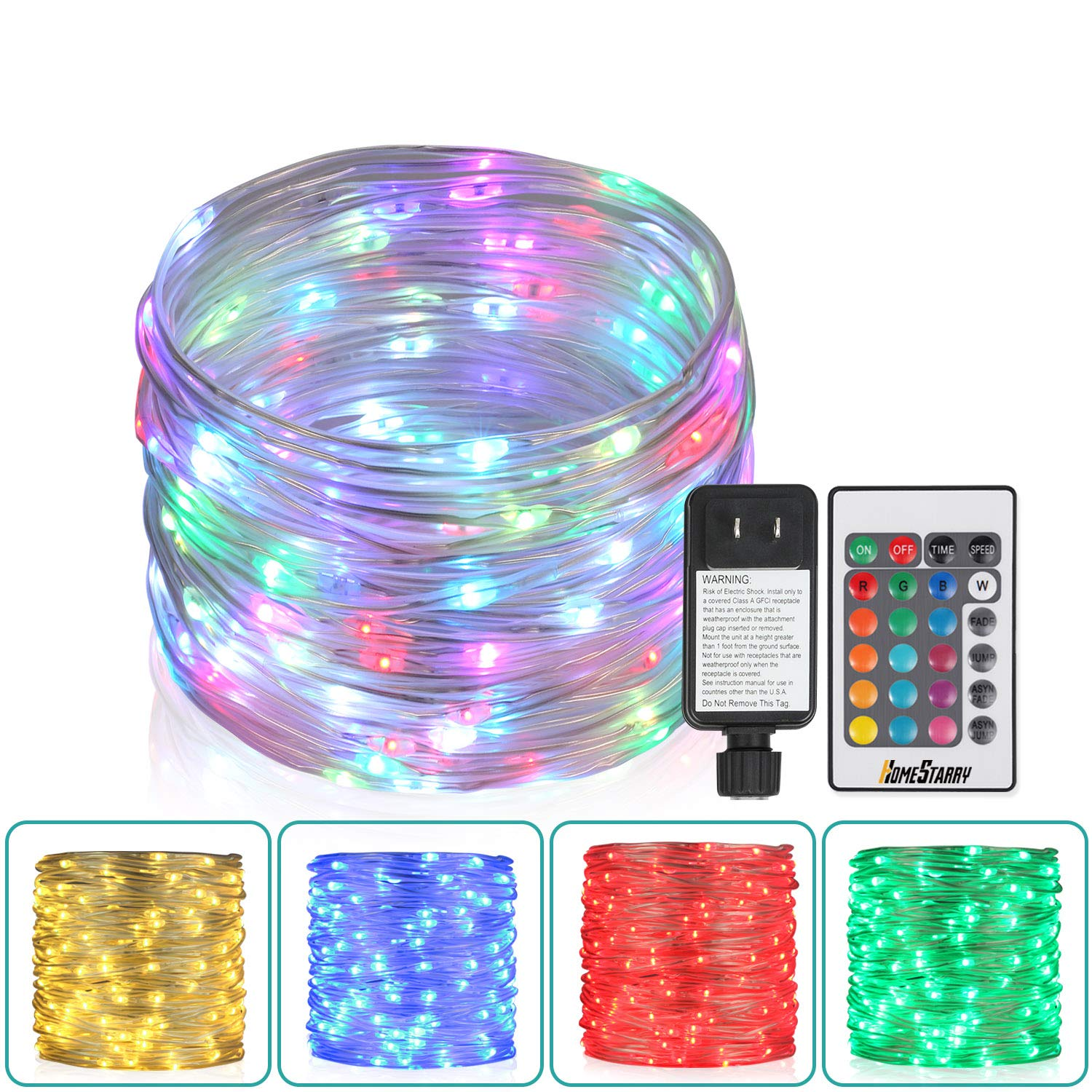 33Ft Outdoor Rope Lights, 100 LEDs Plug-in Color Changing Lights with Remote Waterproof String Lights Fairy Lights for Outdoor, Wedding, Party, Garden, Home Decor, 16 Colors Option