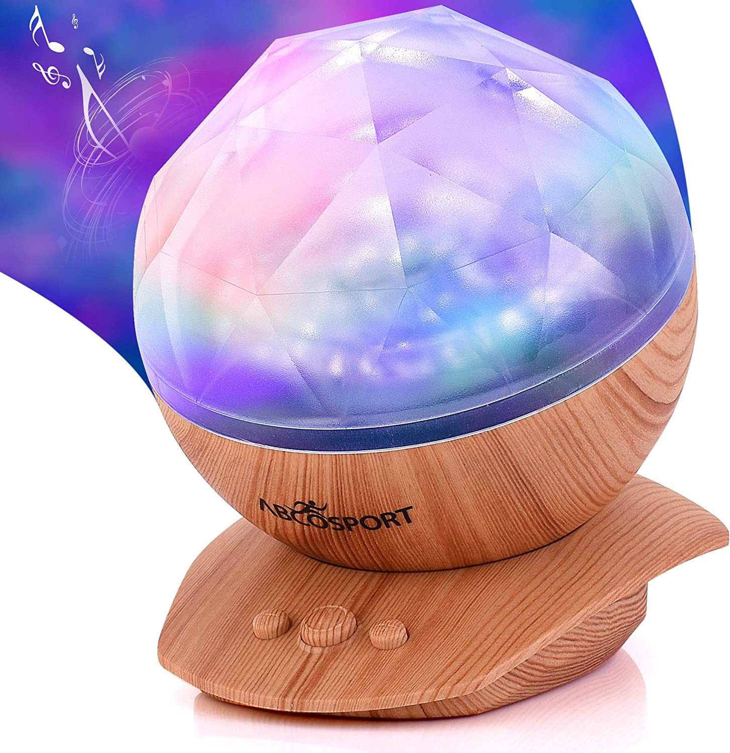 Soothing Aurora Borealis LED Night Light Projector - Music Speaker - Chic Wood Texture Furniture Look - 45 Degree Tilt - 8 Light Modes - Relaxing Ocean Wave Projector for Babies, Kids, and Adults