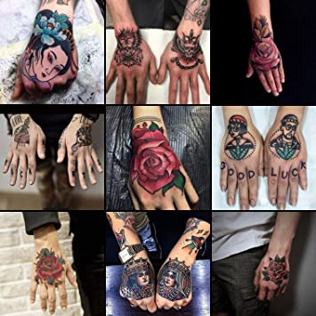 Oottati Waterproof 9 Sheets Back Of Hand Fake Temporary Tattoo Stickers Colorful Red Rose Flower Skull