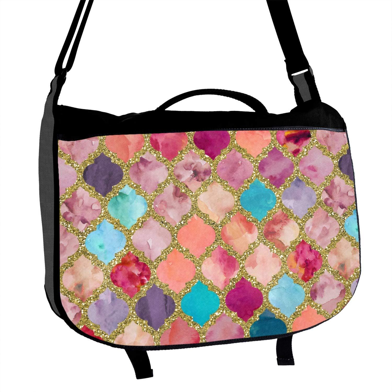 Glitter Moroccan Watercolor Messenger Bag Personalized