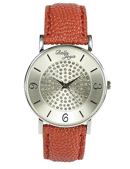 Bella joya moderna de mujer reloj Lu con brillantes funkelnden, raya de estructura de correa de piel auténtica Color Rojo: Amazon.es: Relojes