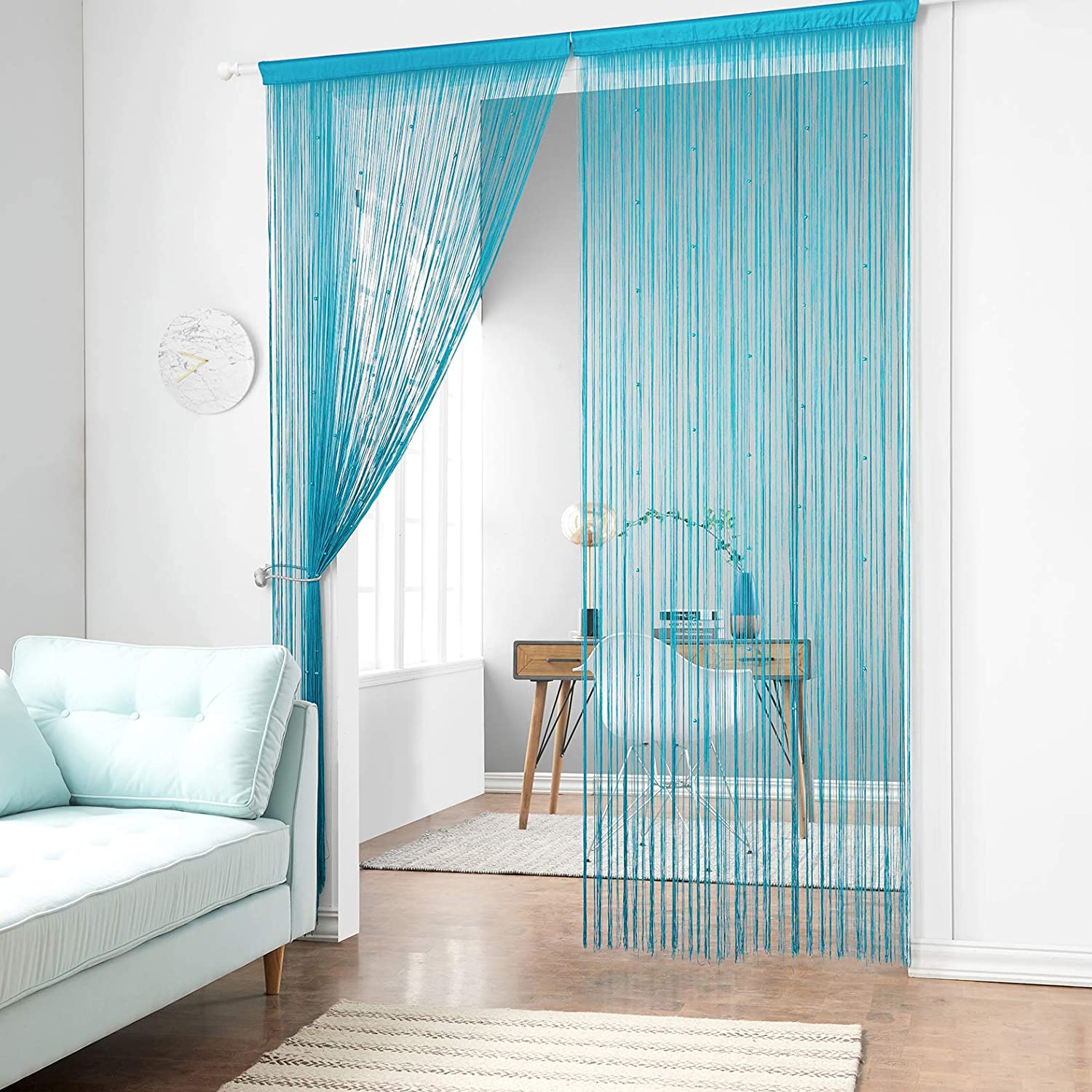 Taiyuhomes Dense Beads String Curtains Fly Screen Beaded Doors Curtain Multi-Function Insect Screen or Room Divider,(90x200cm),Blue 90x200cm Blue