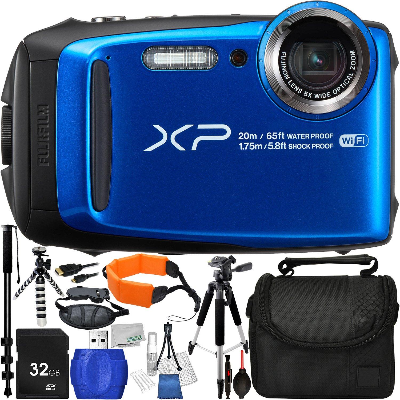 Fujifilm FinePix xp120デジタルカメラ(ブルー) – インターナショナルバージョン保証(no) with 13個入りアクセサリーバンドル – は32 GB SDメモリーカード+ Small携帯ケース+ 57