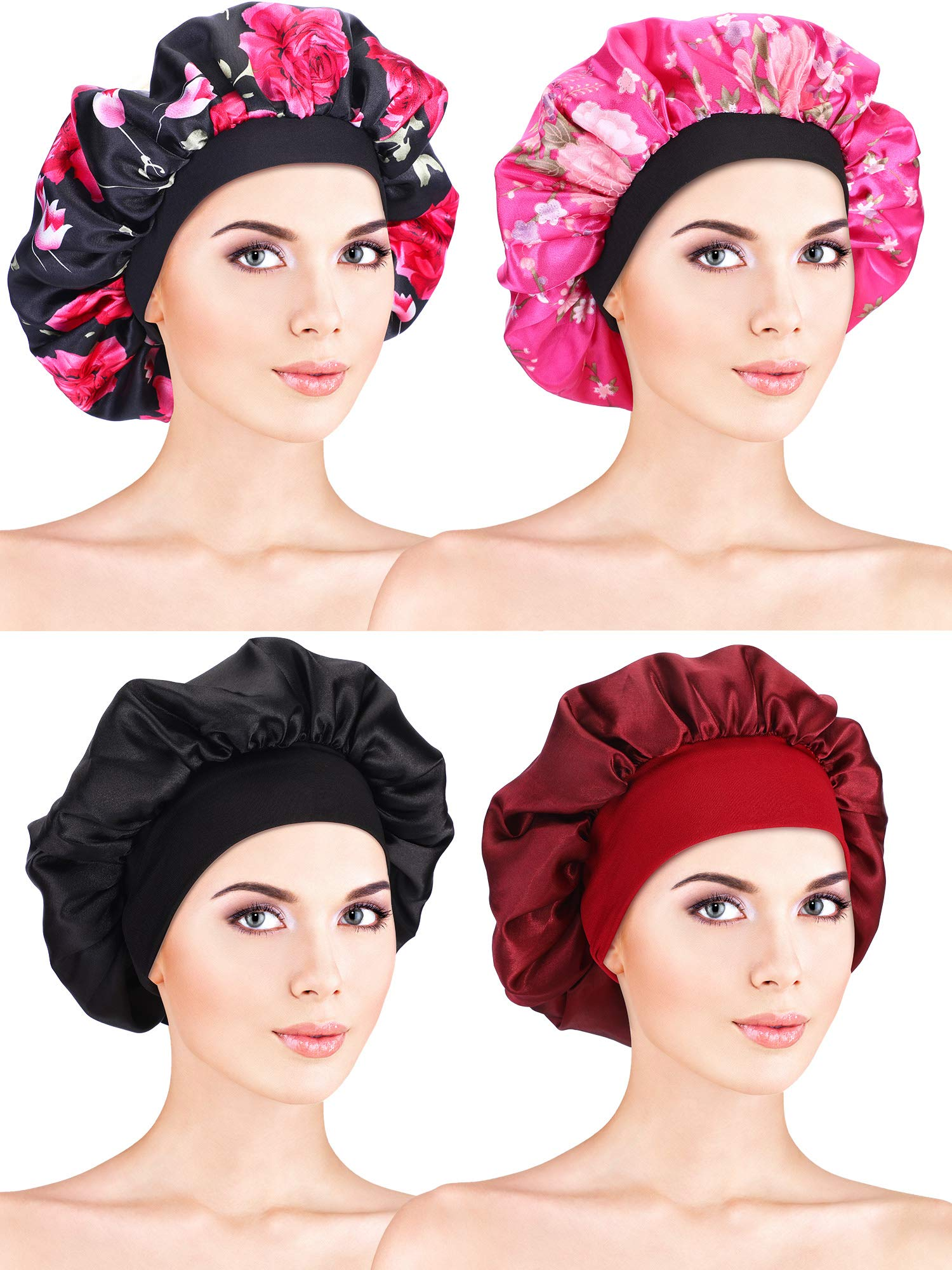 4 Pieces Satin Bonnet Sleeping Cap Soft Night Bonnet Head Cover for Women Girls (Black Flower Printed, Rose Red Flower Printed, Black, Wine Red