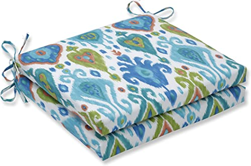 Pillow Perfect Outdoor Indoor Paso Caribe Square Corner Seat Cushions, 20 x 20 , Blue, 2 Pack