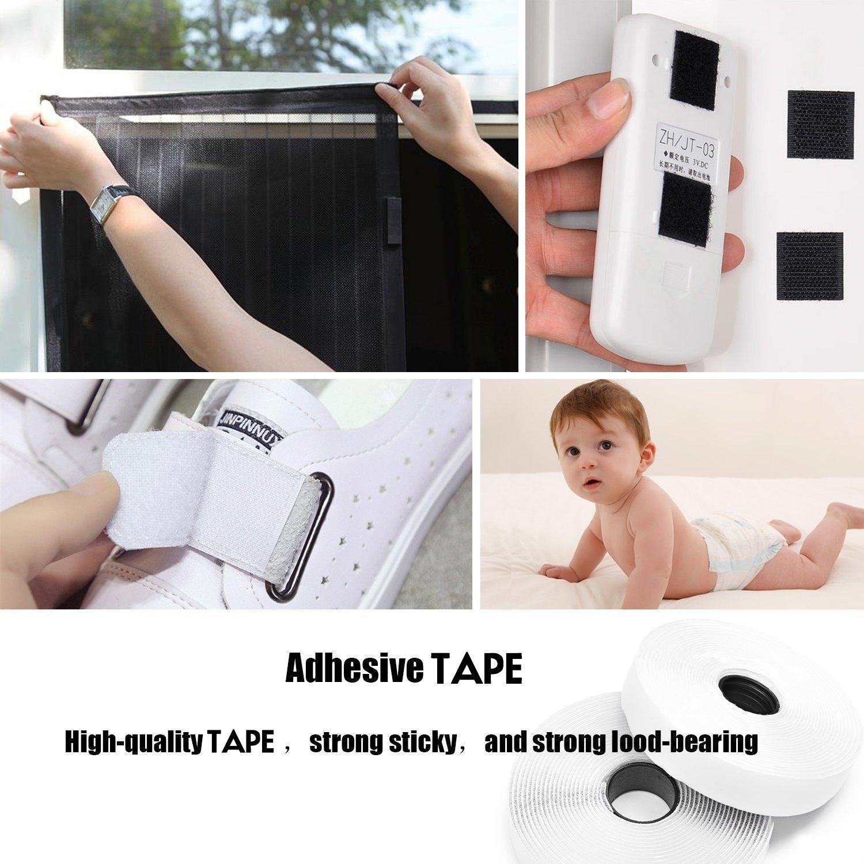 Velcro Strips Self Adhesive, XIAO MO GU Velcro Fastening Loop Tape 10m x 20mm (White)