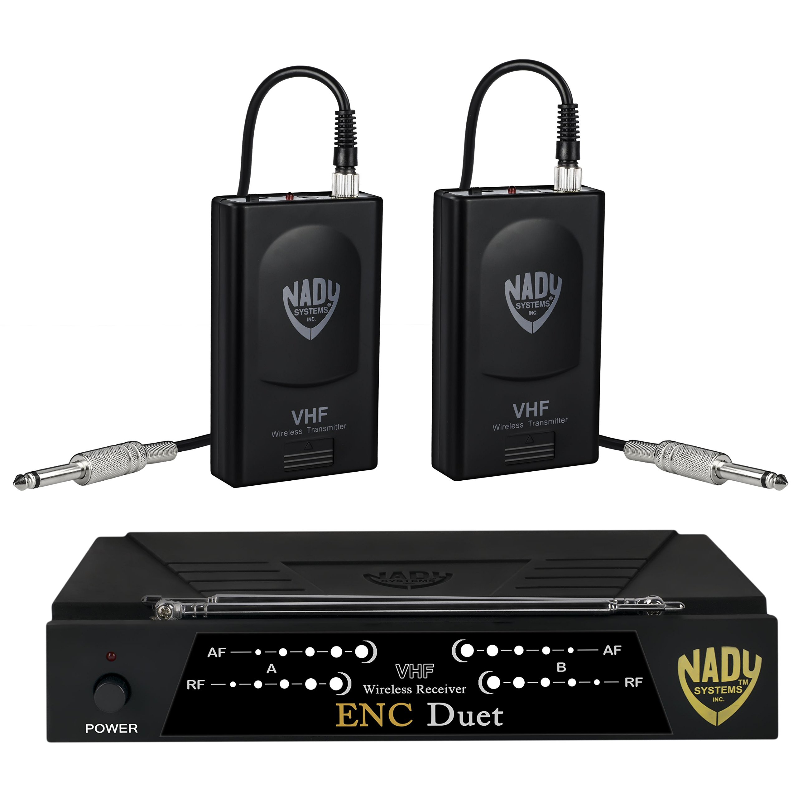 Nady ENC DUET Wireless Dual Channel Instrument/Guitar System with 2 Wireless Guitar Transmitters by Nady