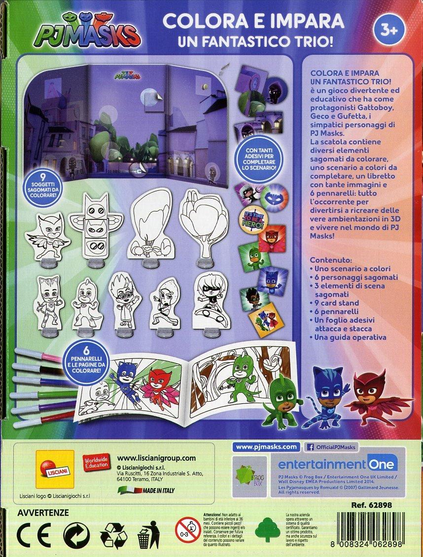 Lisciani Giochi 62898 - PJ Masks, Colorea y aprende, un fantástico Trío: Amazon.es: Juguetes y juegos