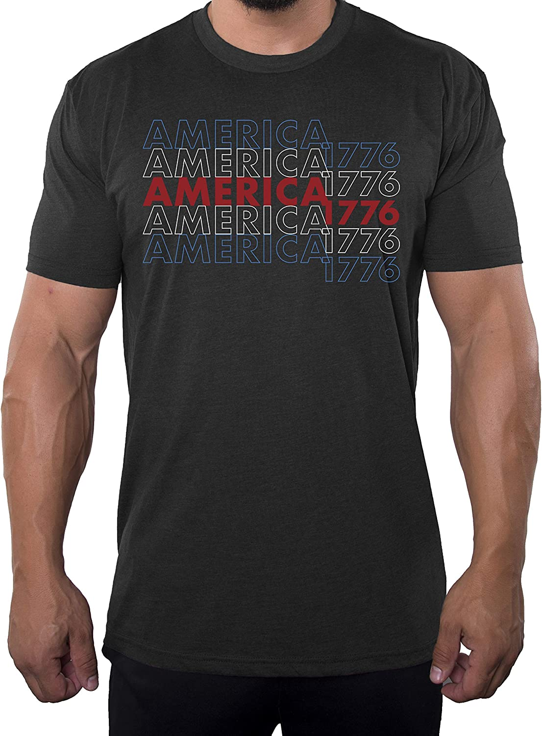 Mato & Hash America 1776 Men's Graphic T-Shirt, 4th of July T-Shirts for Men