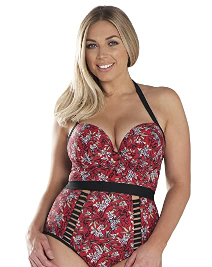 2ae751f1c5aad Curvy Kate Women's Maya Halterneck Swimsuit (Red Print Redpnt), ...