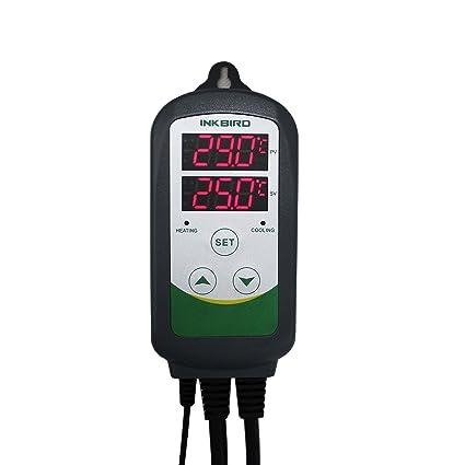 Inkbird Dual Relé 220V ITC-308 Digital Termostato con Sonda, Enfriamiento y Calefacción Control